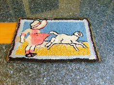 """Folk Art,  Hand Hooked Rug """"Little Bo Peep with Sheep"""" ca 1900 wool on burlap 23"""" x 16"""", mother's day gift"""