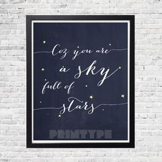 Instant download! Typography Art Print - Look at the Stars - Inspirational Coldplay lyrics (Bluish Black poster) by printype on Etsy