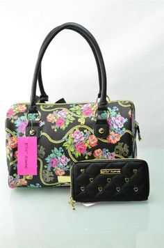 Betsey Johnson Handbag Bow Dangles Patent Satchel Purse Bag Tote With Wallet New #5 Gables eBay Purse