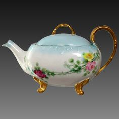 Limoges Hand Painted Rose Tea Pot