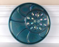 Peacock Blue Carnival Glass Hors D'oeuvres Egg Tray Plate - Indiana Glass Co. -- I want this!!