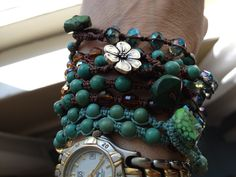 macrame bracelets with turquoise, crystal, jade..some with turquoise nugget buttons as clasp