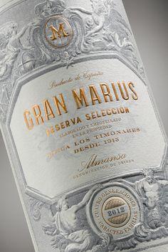 Gran Marius Vintage Packaging, Bottle Packaging, Brand Packaging, Beauty Packaging, Wine Bottle Design, Wine Label Design, Wine Advertising, Wine Logo, Packaging Design Inspiration