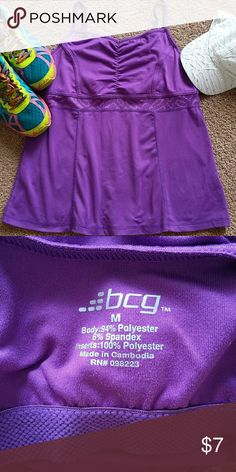 BCG PURPLE WORK OUT EXERCISE TOP Great top with built in bra, for any type of exercise or to just throw on with a pair of shorts or leggings to run errands in. Gently worn in excellent condition!! BCG Tops Tank Tops