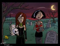 Another one based on the introductions of Daria sarcasm-o-thon. Gothic Daria and Jane Daria Tv Show, Daria Mtv, Cartoon Icons, A Cartoon, Daria Quotes, Daria Memes, Dc Superhero Girl, Daria Morgendorffer, Emo Teen