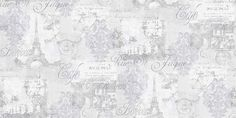 Louvre Grey (630801) - Arthouse Wallpapers - A pretty montage of images of Paris, with French text and the Eiffel tower - perfect shabby chic design.  Shown in the silver grey colourway. Please request sample for true colour match.