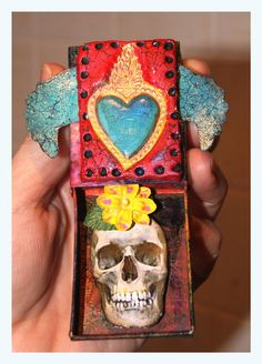 Milagro Heart  Matchbox Shrine