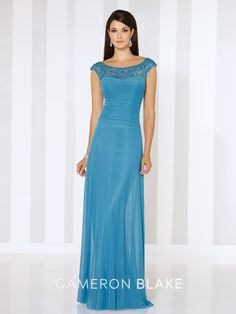Cameron Blake - 116662 - Stretch mesh slim A-line gown with hand-beaded illusion cap sleeves and bateau neckline, beaded illusion V-back, pleated semi-sweetheart bodice, sweep train. Matching shawl included.  Sizes:4 – 20,16W – 26W  Colors:Peacock, Jade, Eggplant