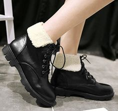 Women's Casual Fold Low Chunky Heels Ankle Boots Short Martin Booties Lace Up