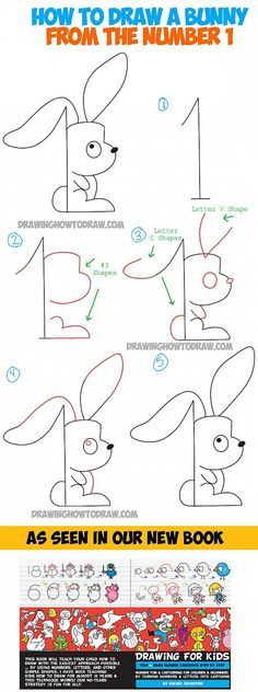How to Draw a Cartoon Bunny Rabbit from the Number One - Drawing Tutorial for Kids