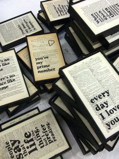 love this idea - typography on old book pages