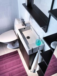 Okay, so I don't like modern. BUT, this sink is perfect for my tiny bathroom. In the midst of planning a hack of my own in order to make it work in a vintage space! Beach Bathrooms, Upstairs Bathrooms, Garage Bathroom, Basement Toilet, Bathroom Sinks, Ikea Lillangen, Ikea Sinks, Mini Bad, Small Space Bathroom