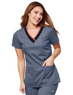 Grey's Anatomy Active Color Block V-Neck Scrub Top Scrubs Outfit, Scrubs Uniform, Scrubs Pattern, Cute Nurse, Greys Anatomy Scrubs, Medical Uniforms, Medical Scrubs, Uniform Design, Scrub Tops