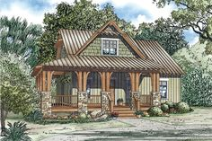 Country House Plans with Porches | Silvercrest Craftsman Cabin Home Plan 055D-0891 | House Plans and More