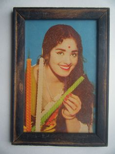 Bollywood Actress Heroin Collectible Old Print in Old Wooden Frame India #2738 #Print