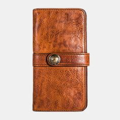 Hot-sale Men Vintage Card Holder Solid Phone Bag Long Wallet - NewChic Mobile Mens Long Leather Wallet, Cute Outfits With Jeans, Business Fashion, Business Casual, Long Wallet, Vintage Cards, Clutch Wallet, Coin Purse, Card Holder