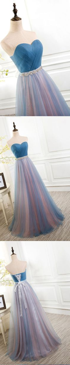 2017 Best Sale Tulle Sweetheart Lace up Back Evening Cheap Long Prom Dresses, WG759 #prom #promdress #prom dress