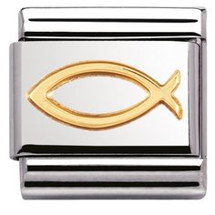 This charm is an ancient symbol of Christian belief. Celebrate your faith and religion. Stainless Steel gold Ichthys Symbol Made in Italy Compatible with any classic . Nomination Charms, Nomination Bracelet, Ichthys, Ancient Symbols, 18k Gold, Spirituality, Charmed, Stainless Steel, Faith
