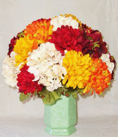 Artificial Flower Arrangement Gold Orange & by BeautyEverlasting, $47.95