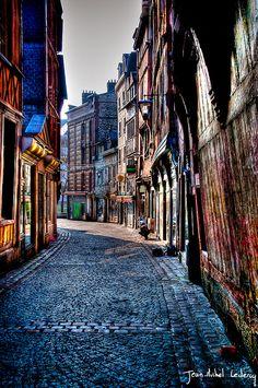 destinations, spring colors, luxury travel, street, rouen, buildings, diagon alley, france, place