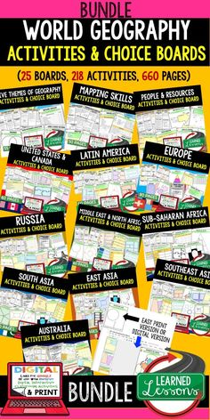Mapping Skills Digital graphic organizers, Five Themes of Geography Digital graphic organizers, People and Resources Digital graphic organizers, United States Lesson, Canada Lesson, Latin America Digital graphic organizers, Europe Digital graphic organizers, Russia Digital graphic organizers, Middle East Digital graphic organizers, North Africa Digital graphic organizers, Sub-Saharan Africa Digital graphic organizers, Africa Digital graphic organizers, South Asia Digital graphic organizers…