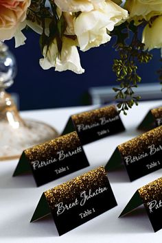 Black and Gold Glitter Wedding PlaceCard Place Cards DIY