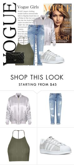 """""""Vogue girls"""" by abecic3 ❤ liked on Polyvore featuring Miss Selfridge, Topshop, adidas and Chanel"""