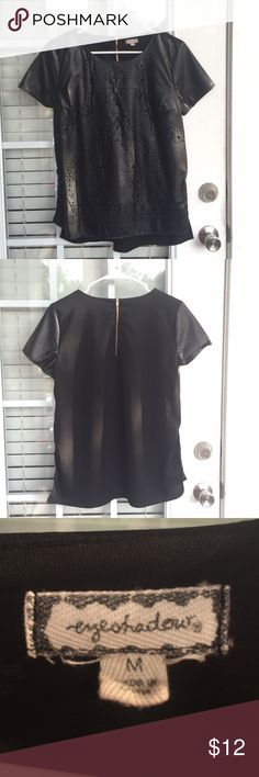 Faux Leather Blouse Worn only once! Great condition. Size medium 💕 Tops Blouses