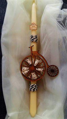 """Χειροποίητη λαμπάδα """"Ποδήλατο"""" (handmade easter candle """"Bicycle"""") , made by Lemon Garden Creations"""