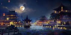 yanjing city by Zp Zhang on ArtStation. Fantasy City, Fantasy Places, Fantasy World, Fantasy Art Landscapes, Fantasy Landscape, Landscape Art, Wallpaper Kawaii, Chinese Background, Chinese Landscape