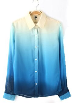 Blue Plain V-neck Long Sleeve Chiffon Blouse