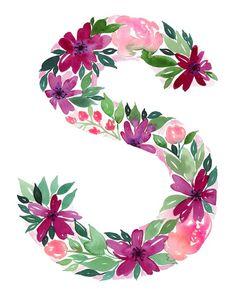 alphabet letter s – Etsy Watercolor Lettering, Watercolor Art, Painted Letters, Wood Letters, Use E Abuse, Crochet Decoration, Arts And Crafts, Diy Crafts, Decoupage Vintage