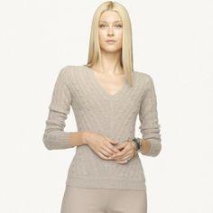 Ralph Lauren Black Label Cashmere Sweater V Neck  Taupe