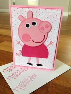 Peppa pig card-- My attempt at Peppa Pig. Using only 5 punches. circle punch, 1 circle punch, circle punch, word window punch and owl builder punch Peppa pig card-- My attempt at Peppa Pig. Using only 5 punches. Girl Birthday Cards, Bday Cards, Pig Birthday, Handmade Birthday Cards, Greeting Cards Handmade, Punch Art Cards, Cool Cards, Cards Diy, Kids Cards
