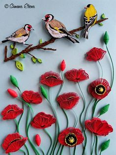 Quilling: Birds of Paper, Three Birds on a Branch Over Red Poppies Arte Quilling, Paper Quilling Flowers, Quilling Work, Origami And Quilling, Quilled Paper Art, Paper Quilling Designs, Quilling Paper Craft, Quilling Patterns, Paper Crafts