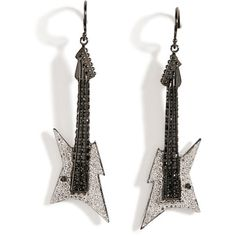 Lynn Ban Black Rhodium Silver Guitar Earrings B in White (¥280,730) ❤ liked on Polyvore featuring jewelry, earrings, drusy earrings, lynn ban jewelry, lynn ban, white jewelry and silver hook earrings