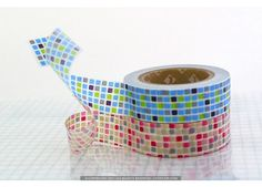 Pretty Colorful GRID Red / Blue Japanese MT Masking Tape - NEW - MT Masking Tape - Japanese Washi Tape