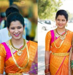 South Indian bride. Gold Indian bridal jewelry.Temple jewelry. Jhumkis. Orange and pink silk kanchipuram sari.braid with fresh jasmine flowers. Tamil bride. Telugu bride. Kannada bride. Hindu bride. Malayalee bride.Kerala bride.South Indian wedding.