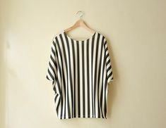 Striped+Oversized+Blouse+with+Draped+Sleeves+by+karmologyclinic,+$41.00