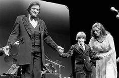 Johnny Cash with his son John Carter Cash and wife June Carter live at Wembley Conference Centre London