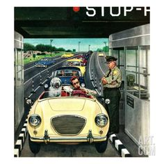 """""""Stop and Pay Toll"""", April 7, 1956 Giclee Print by Stevan Dohanos at Art.com"""