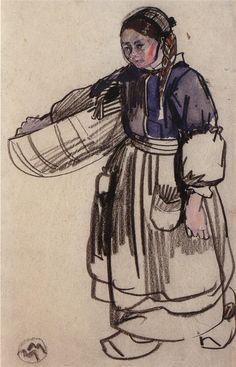 Ouessant, une jeune fille portant son pain dans une corbeille.
