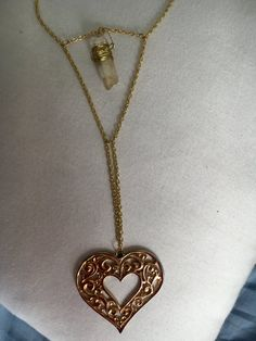 Vintage 80's Heart Charm with Crystal by GoldMoonJewelry on Etsy