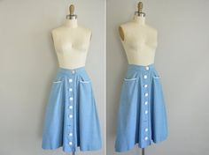 40s skirt / vintage 1940s jean skirt / Summer by simplicityisbliss, $30.00 - it's like a sky you cannot resent.