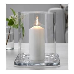 IKEA - GLASIG, Lantern, The clear glass reflects and enhances the warm glow of the candle flame.
