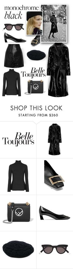 """""""Monochrome: All Black Everything"""" by emavera ❤ liked on Polyvore featuring Tom Ford, Dion Lee, Roger Vivier, Fendi, Maison Michel, Gentle Monster and Carven"""