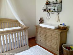 Driftwood Nursery--useful hanging baskets above changing table