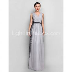 [ILS ₪ 341.56] Sheath/Column V-neck Floor-length Chiffon And Lace Evening Dress (835172)