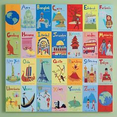Shop World Alphabet Canvas Wall Art. Help your kids learn that there's a world beyond the local mall. Beautifully illustrated by Jenny Kostecki, artwork presents foreign cultures in context of the alphabet. Educational, engaging and easy on the eyes. Alphabet Wall Art, Alphabet Cards, Map Wall Art, Art Wall Kids, Art For Kids, Wall Mural, Alphabet Quilt, Murals, Wall Decor