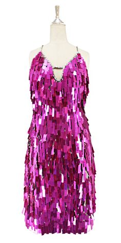 739e64aa9be7 A short handmade sequin dress, in rectangular metallic fuchsia paillette  sequins with silver faceted beads